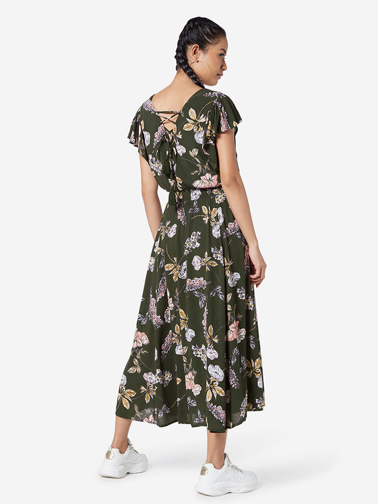 Nuon Khaki Floral Luri Dress