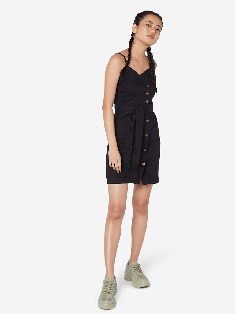 Nuon Black Libra Denim Dress With Belt