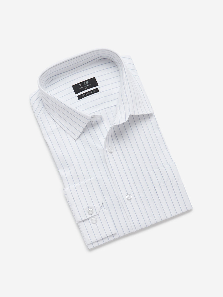 WES Formals White Striped Relaxed Fit Shirt