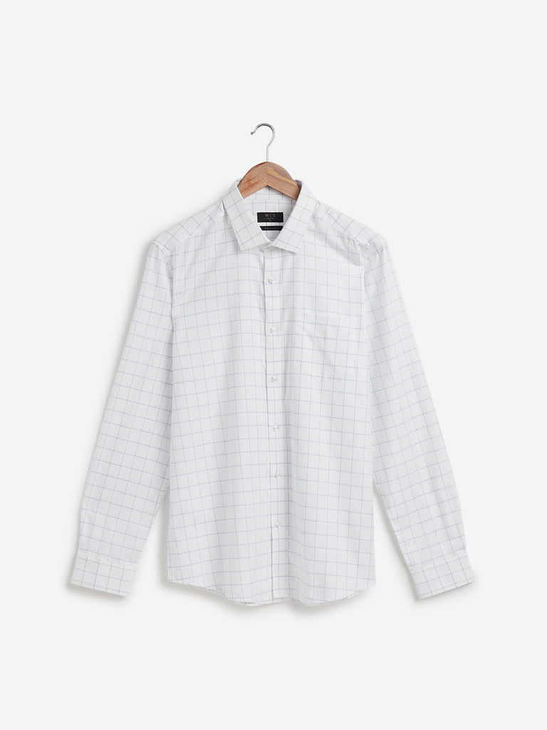WES Formals White Checkered Slim Fit Shirt