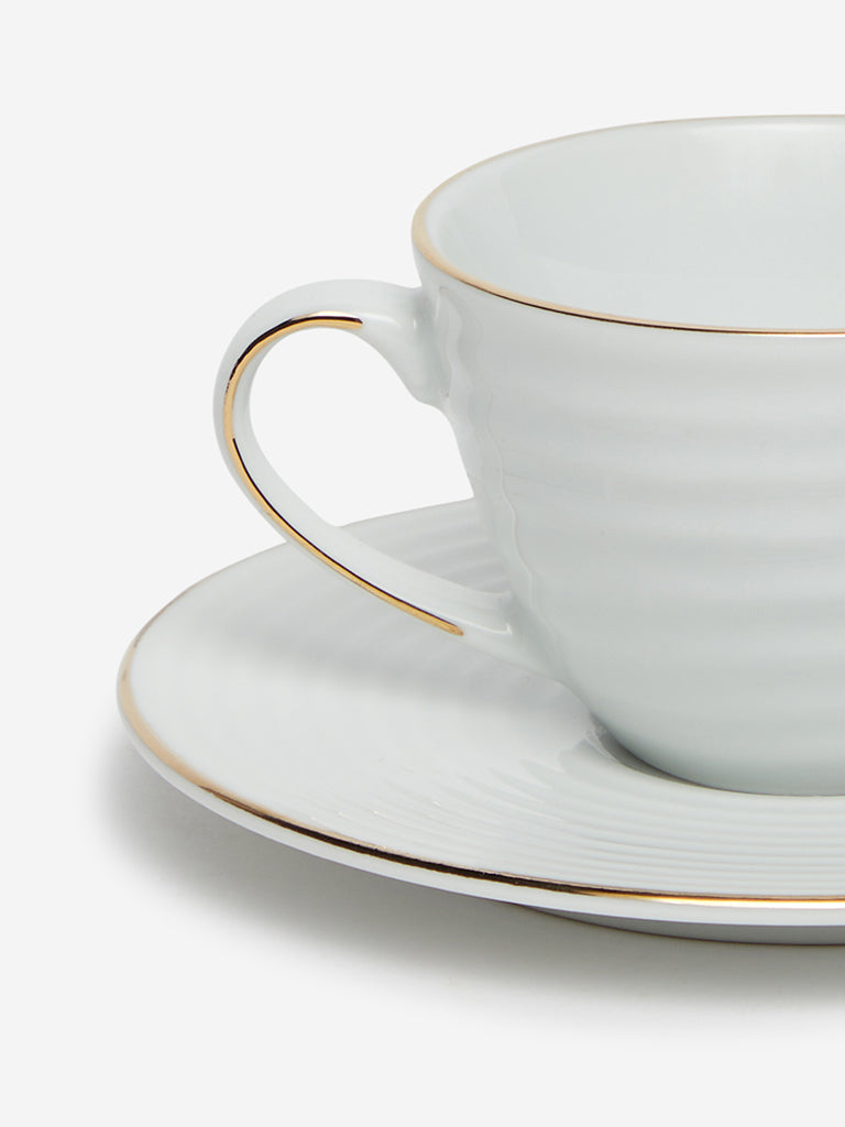 Westside Home White Ceramic Espresso Cup And Saucer