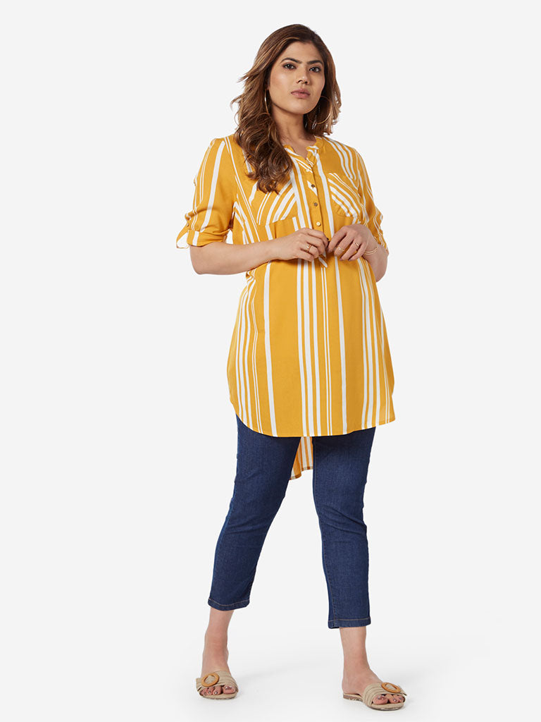 Gia Curve Ochre Striped High-Low Oasis Tunic