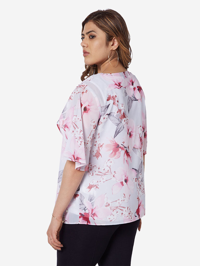 Gia Curve White Floral Printed Esther Top