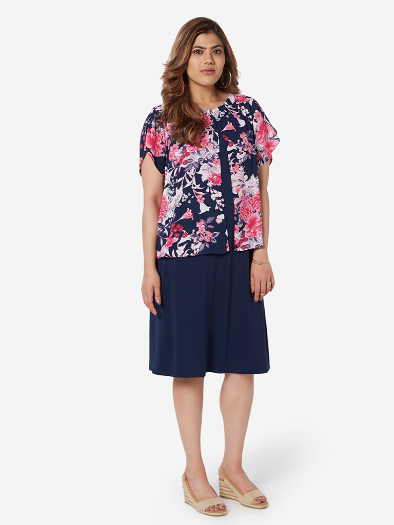 Gia Curve Navy Floral Print Ordilia Dress