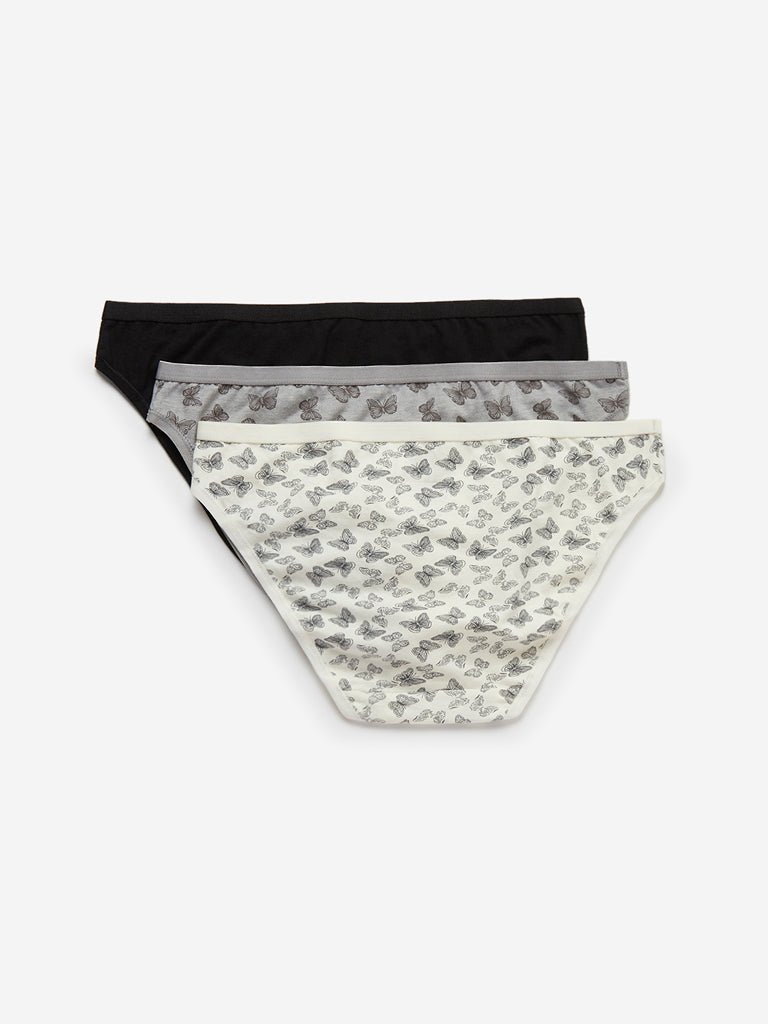 Wunderlove Grey Bikini Briefs Pack of Three