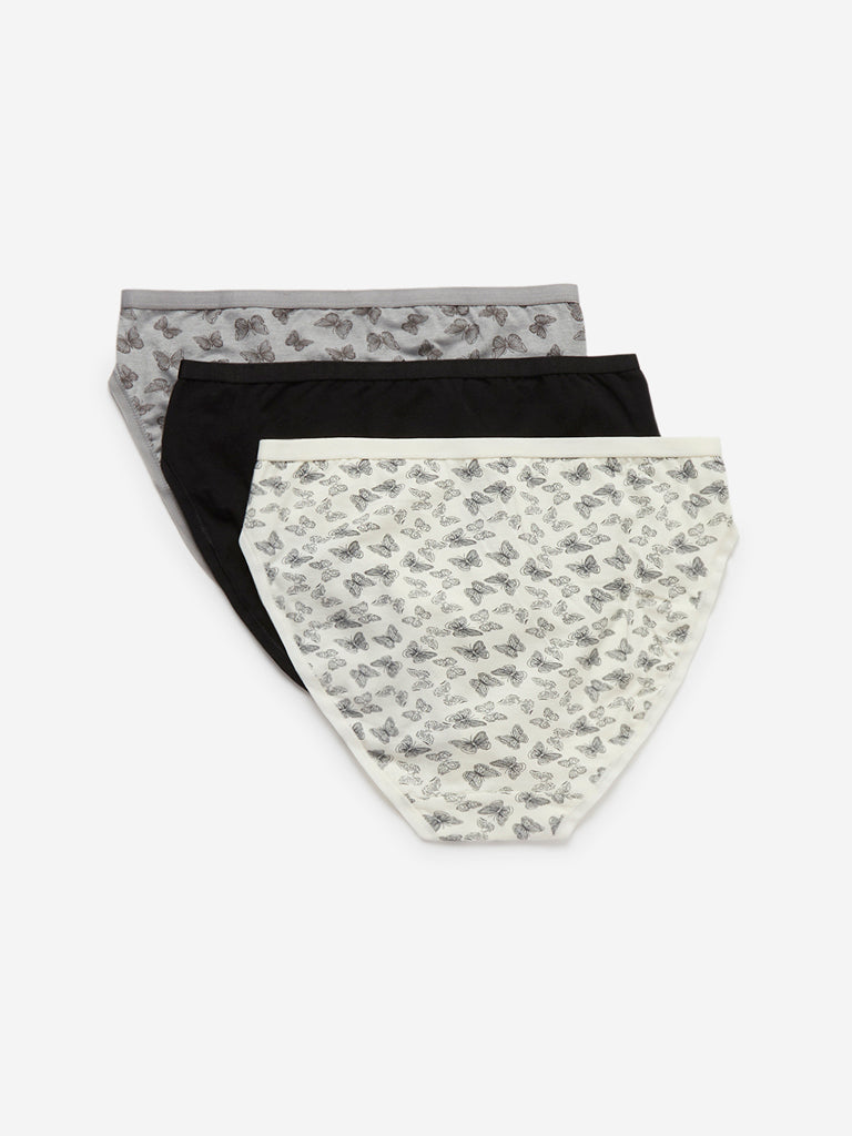 Wunderlove Grey Hi-Leg Briefs Pack of Three
