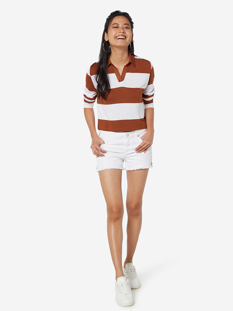 Nuon Tan Stripe Cropped Polo T-Shirt