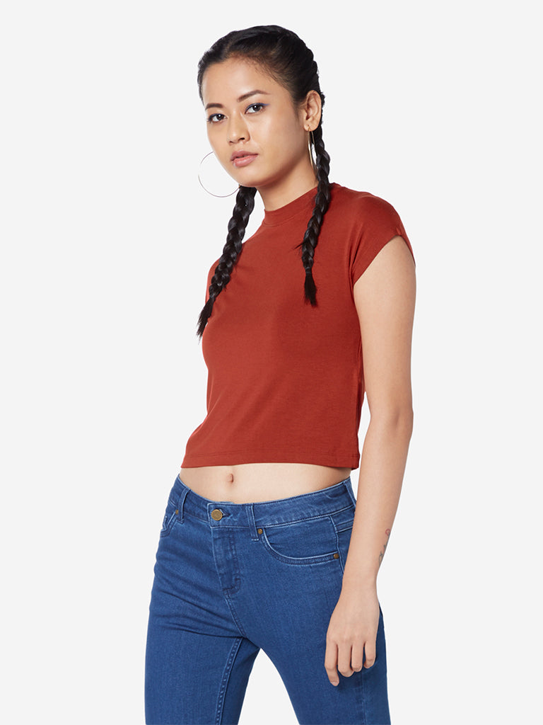Nuon Rust Adorn Cropped T-Shirt