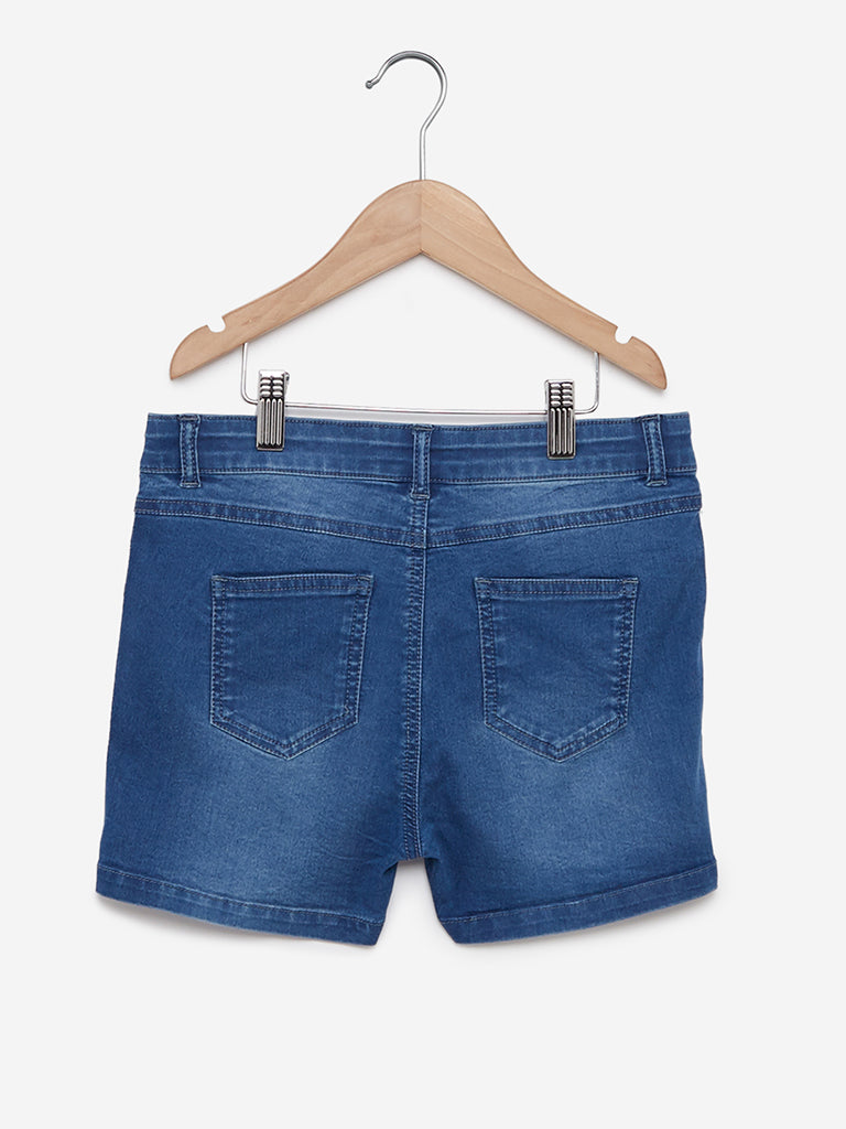 Y&F Kids Blue Sequinned Denim Shorts