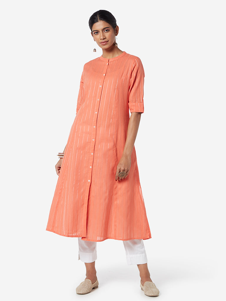 Utsa Coral Band-Neck Self-Striped A-line Kurta