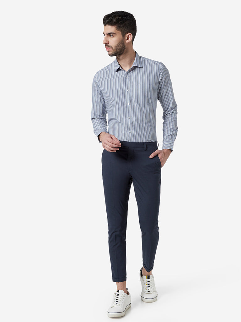 WES Formals Blue Striped Slim Fit Shirt