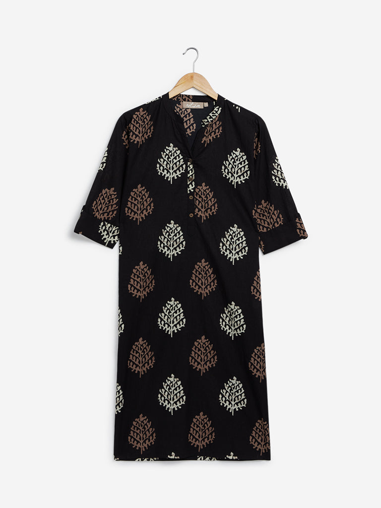 Utsa Black Straight Printed Kurta