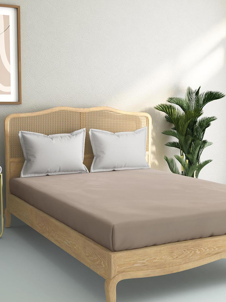 Westside Home Taupe 144TC King Fitted Bedsheet