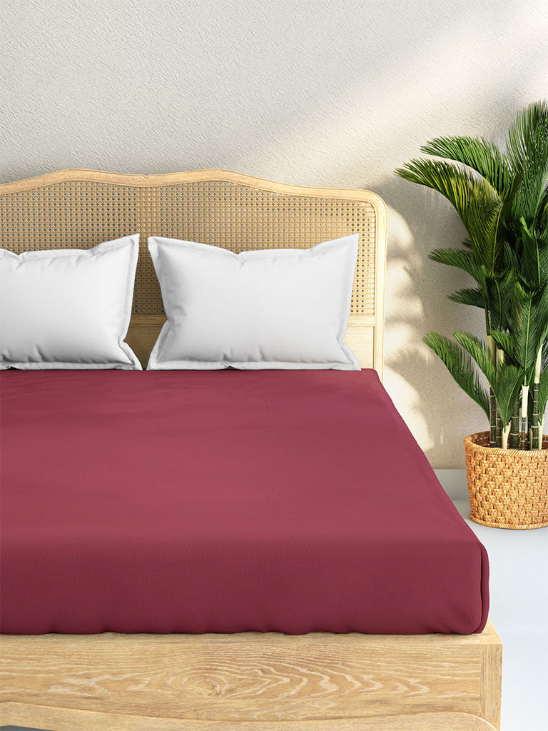 Westside Home Dark Pink 144 TC King Fitted Bedsheet