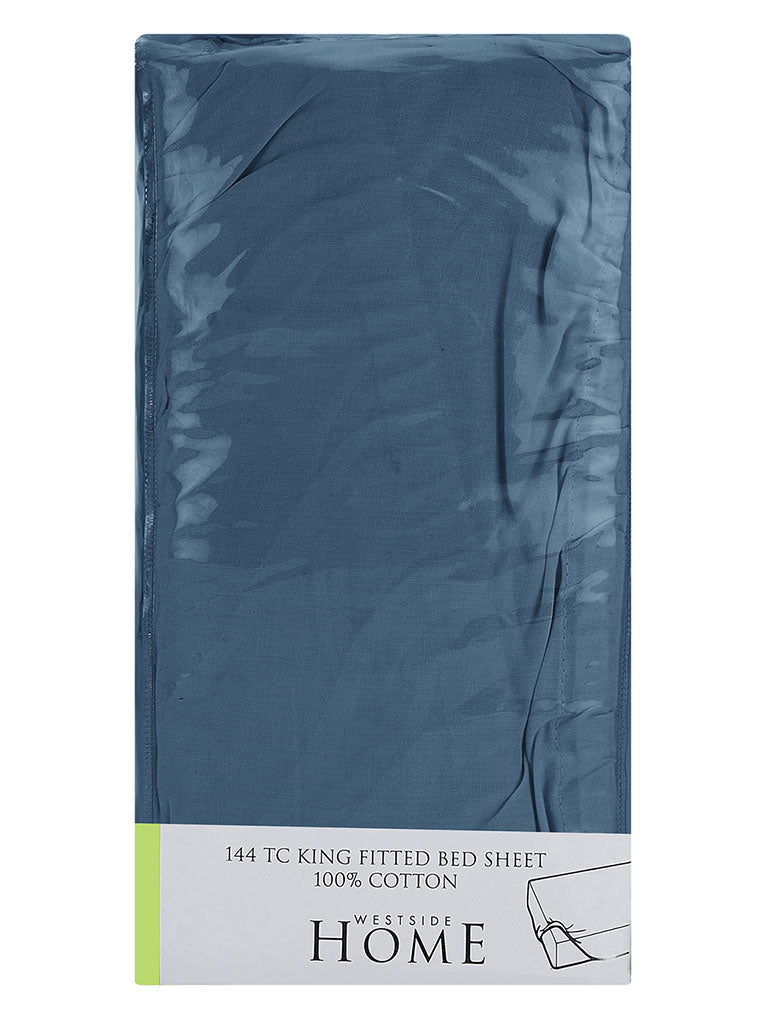 Westside Home Navy 144 TC King Fitted Bedsheet