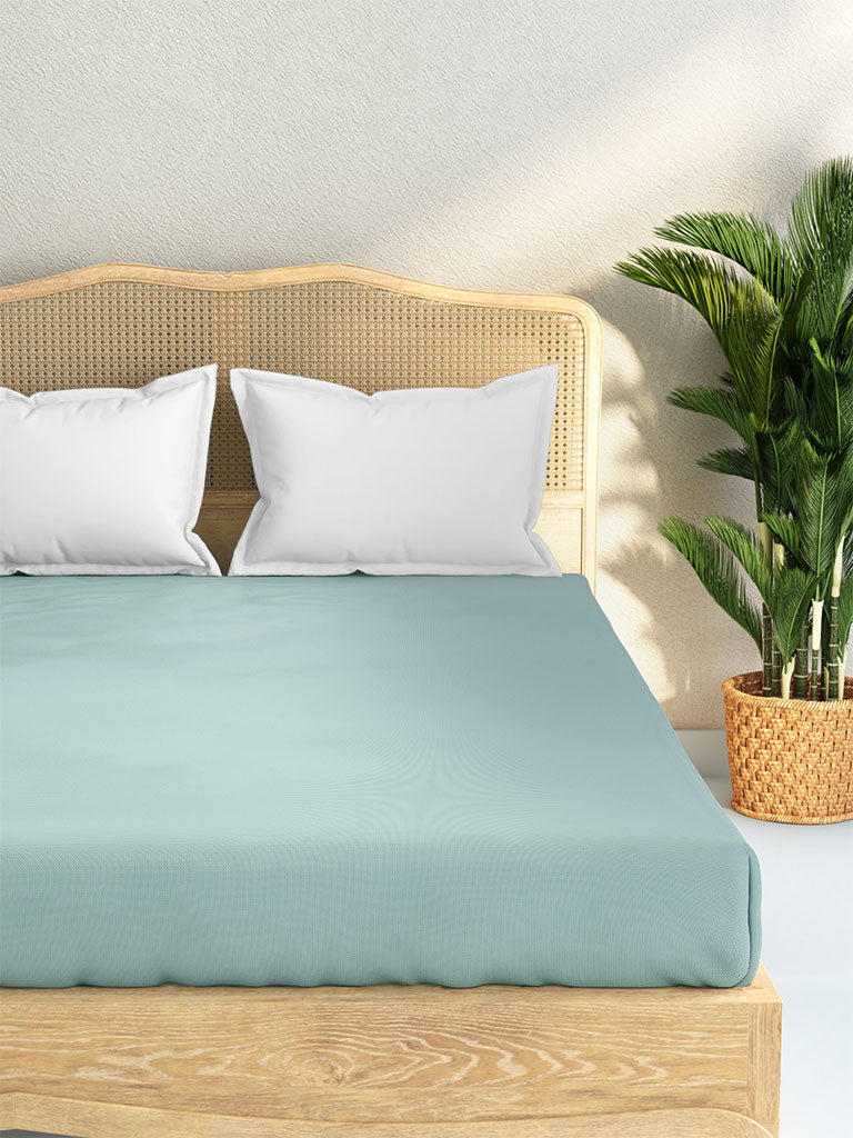Westside Home Aqua 144 TC King Fitted Bedsheet