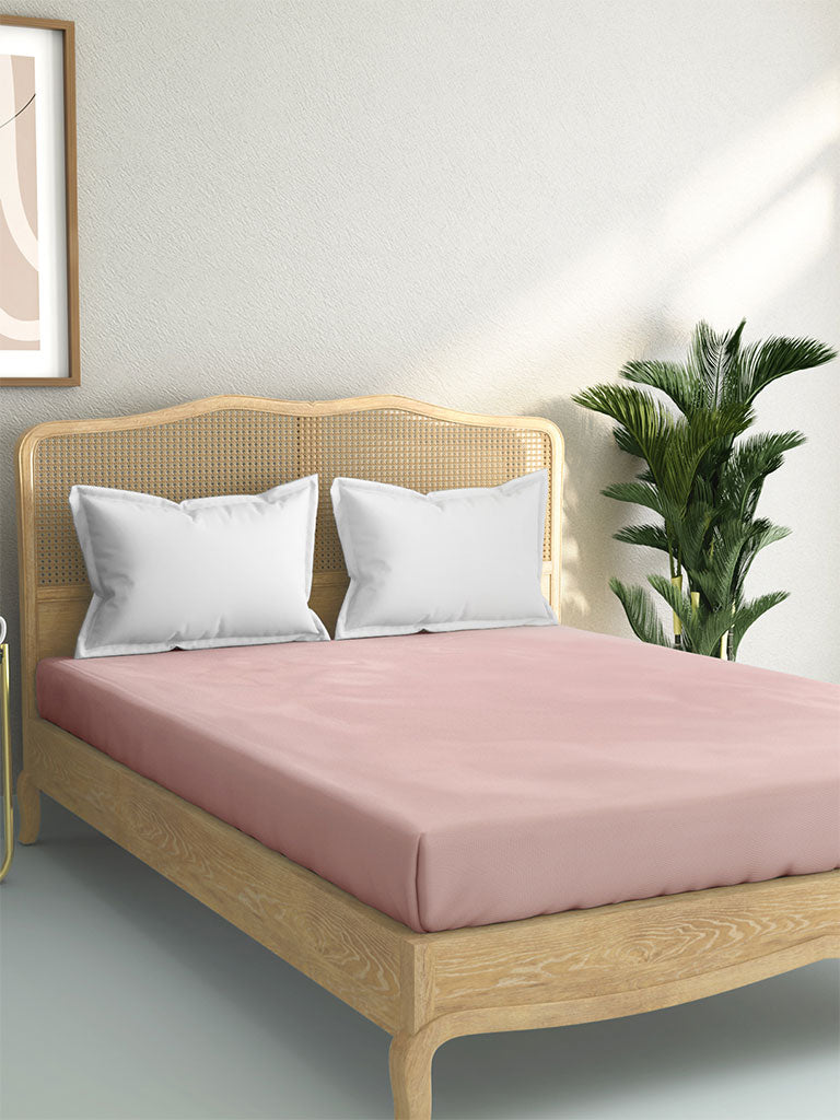 Westside Home Light Pink 144 TC Double Fitted Bedsheet