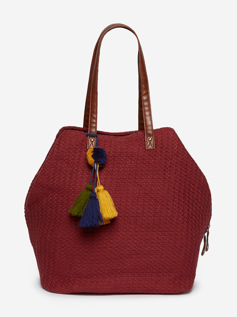 Bombay Paisley Dark Red Weave Pattern Tote Bag