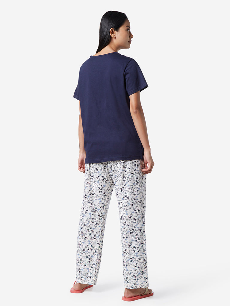 Wunderlove Navy Floral T-Shirt And Pyjamas Set
