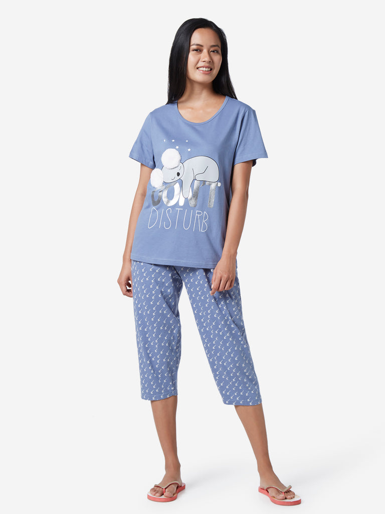 Wunderlove Blue Koala T-Shirt And Capris Set