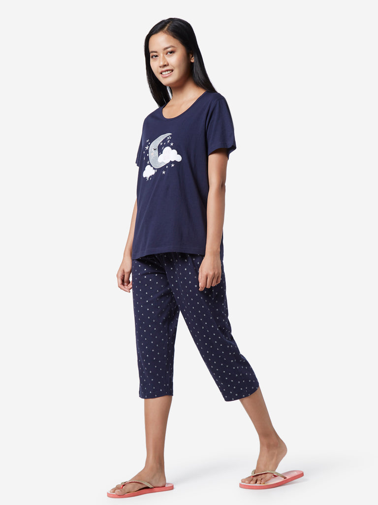 Wunderlove Navy Moon T-Shirt And Capris Set