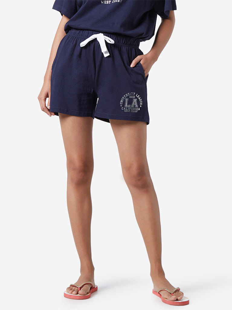 Wunderlove Navy Text Pattern Shorts