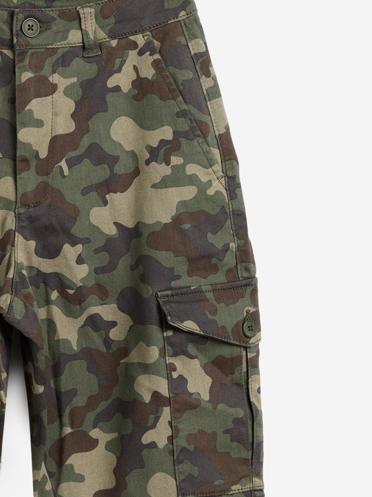 Nuon Khaki Camouflage Print Slim Fit Tim Joggers
