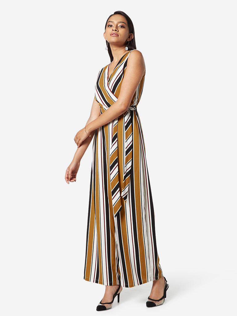 Wardrobe Mustard Striped Jumpsuit With Belt