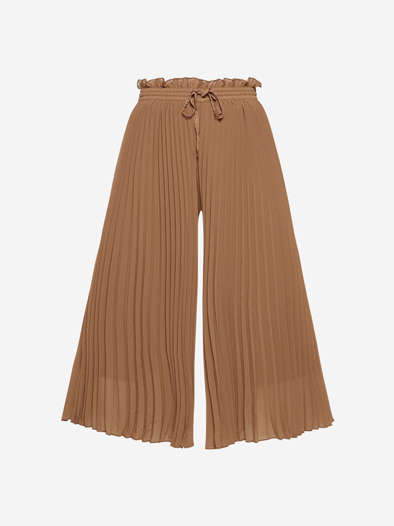 Wardrobe Light-Brown Pleated Flared Trousers