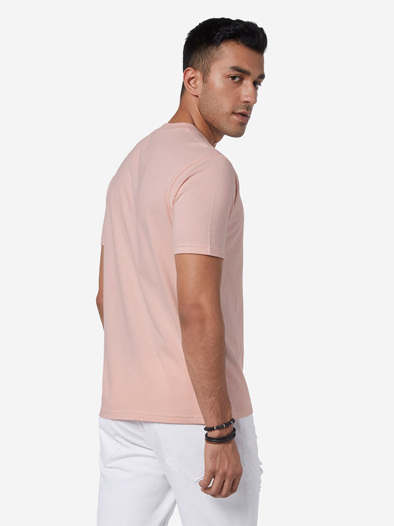 Nuon Light Pink Printed Slim Fit T-Shirt