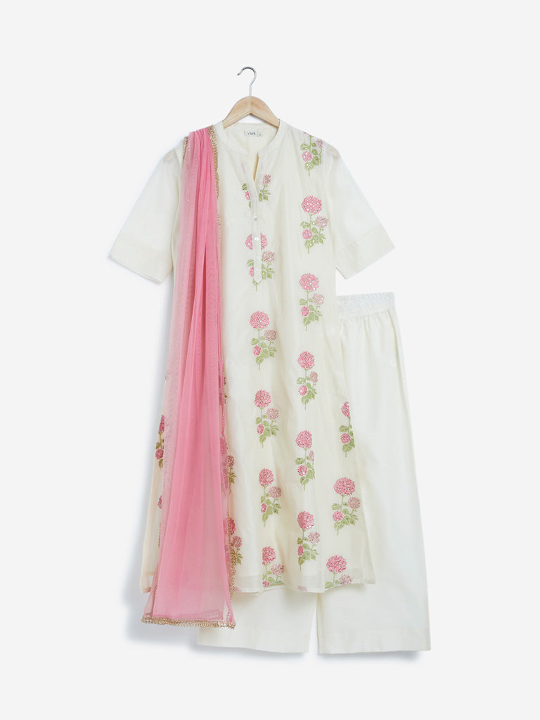 Vark Off White Kurta, Palazzos And Dupatta Set
