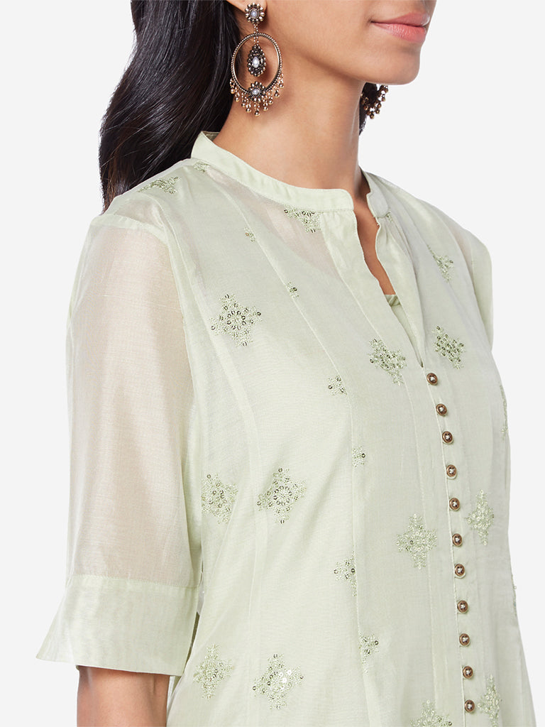 Vark Mint Kurta, Inner And Palazzos Set