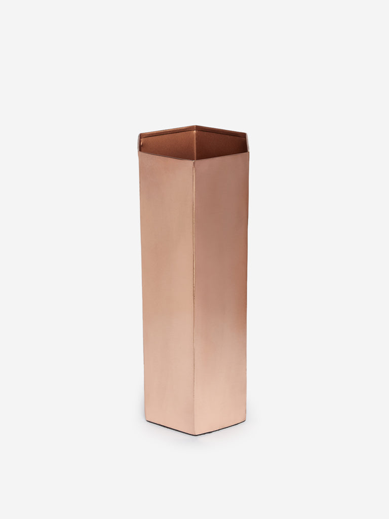 Westside Home Rose-Gold Hexagonal Large Vase
