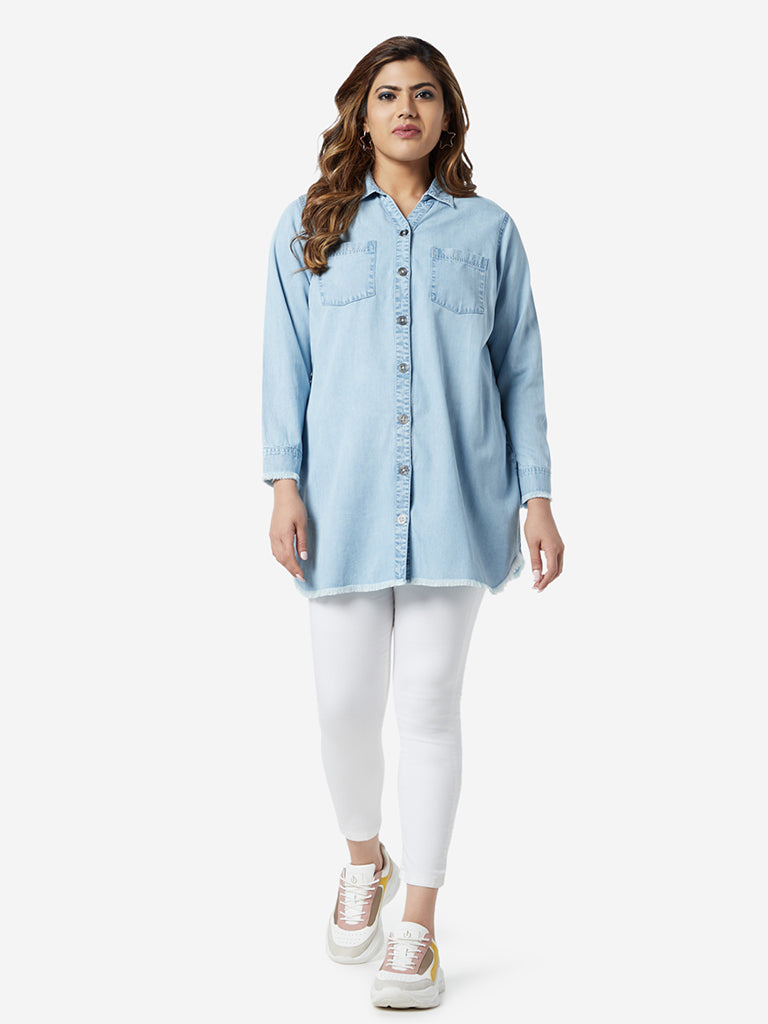 Sassy Soda Curve Light Blue Fray Casual Shirt