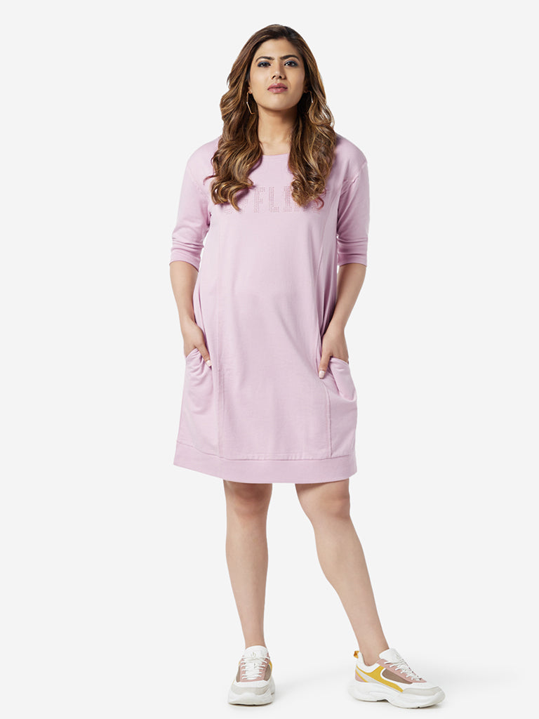Sassy Soda Curve Light Pink Text Printed Dress
