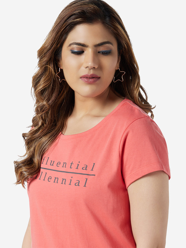 Sassy Soda Curve Coral Text Print Edna T-Shirt