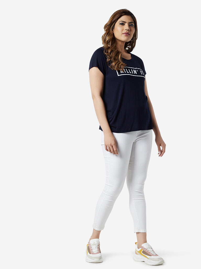 Sassy Soda Curve Navy Text Printed Edna T-Shirt
