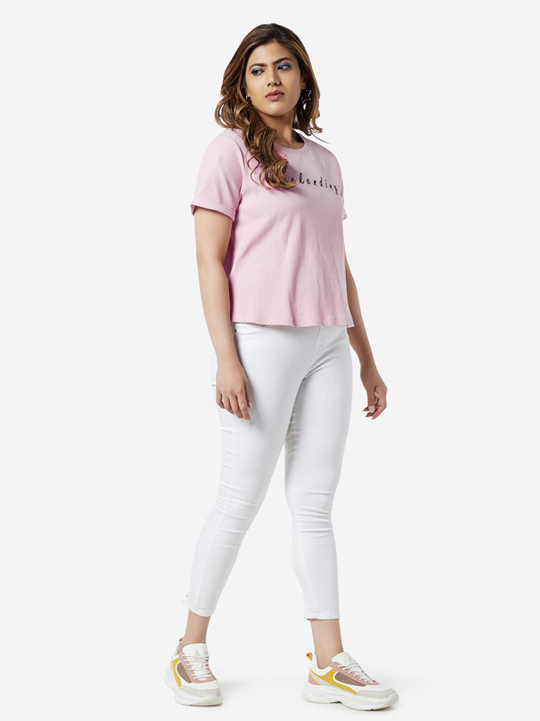 Sassy Soda Curve Light Pink Text Print T-Shirt