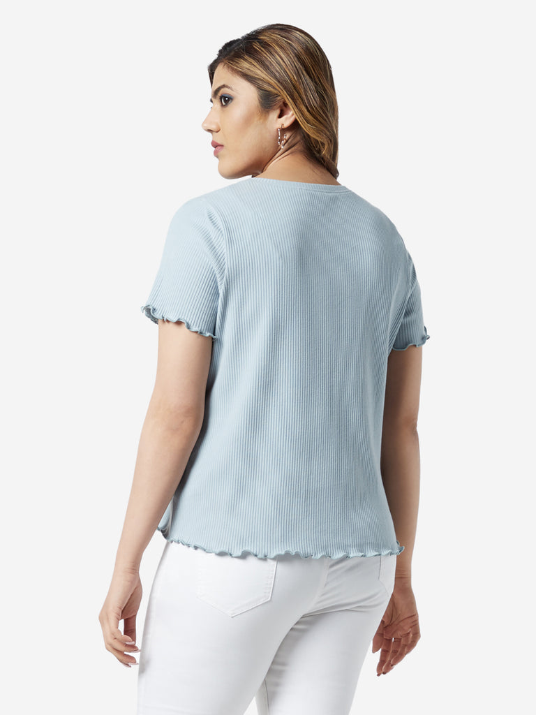 Sassy Soda Curve Blue Ribbed Betty T-Shirt
