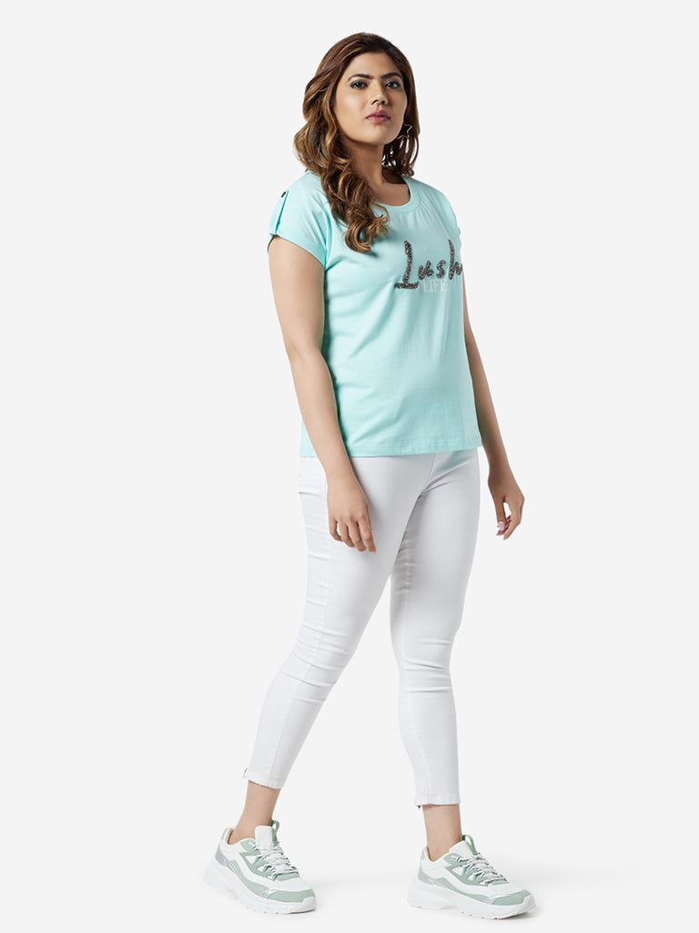 Sassy Soda Curve Turquoise Text Printed T-Shirt