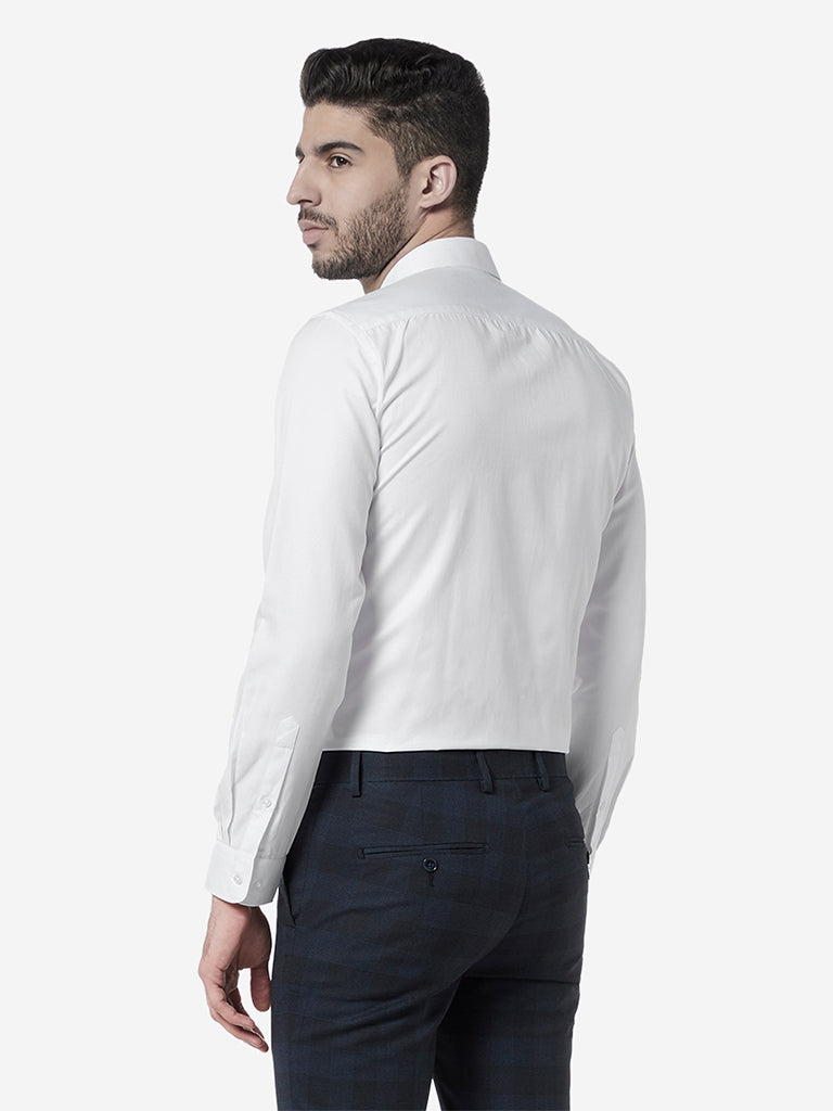 WES Formals White Self-Patterned Slim Fit Shirt