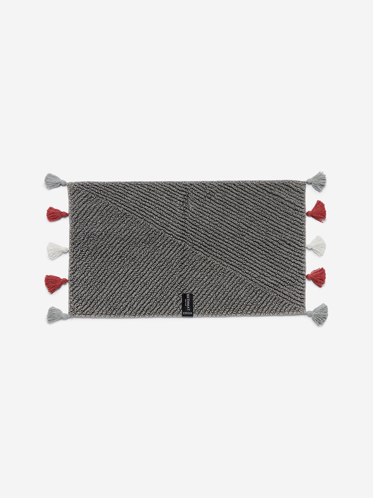Westside Home Grey Tasseled Anti-Slip Bath Mat