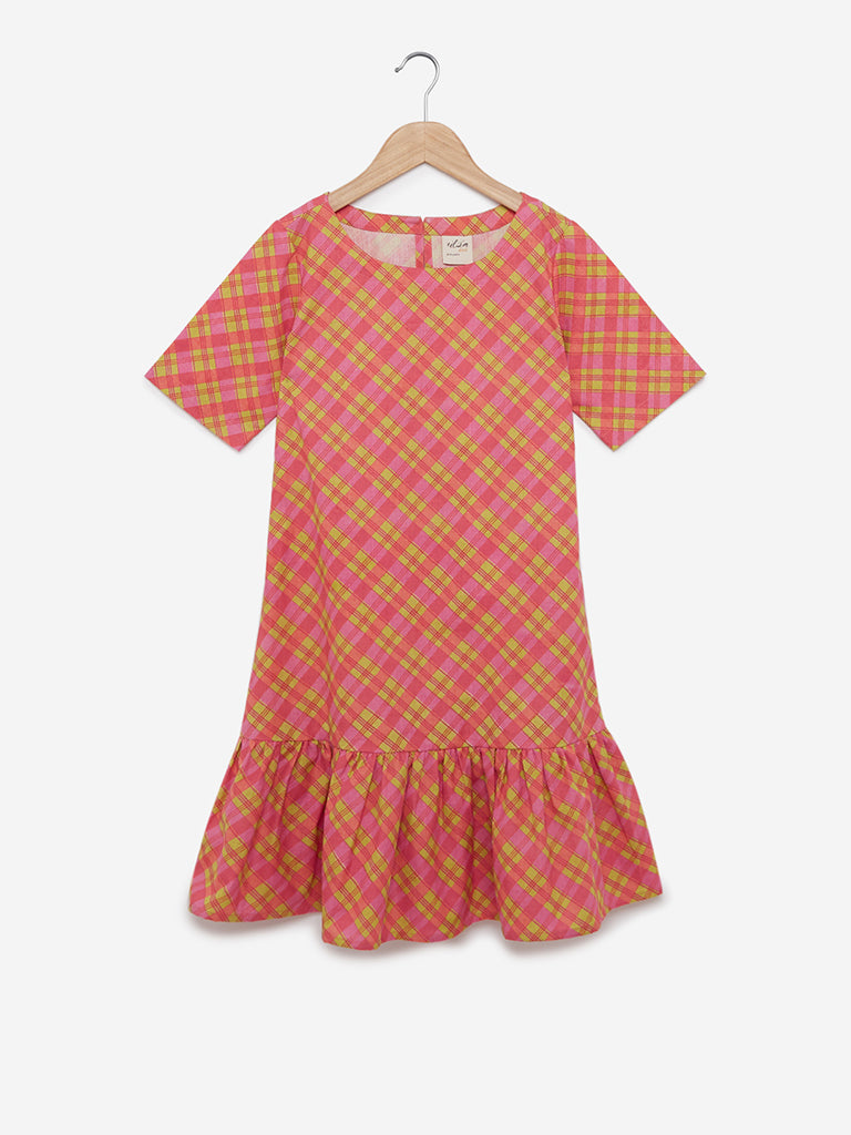 Utsa Kids Multicolour Checked Dress