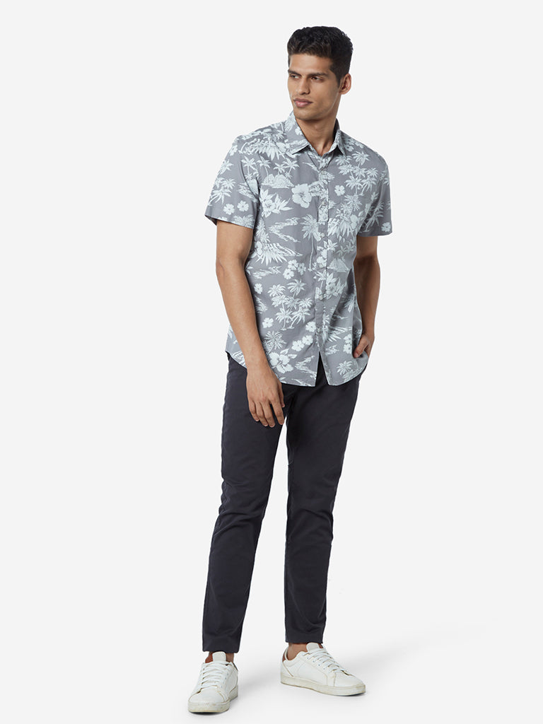 WES Casuals Light Grey Floral Slim Fit Shirt