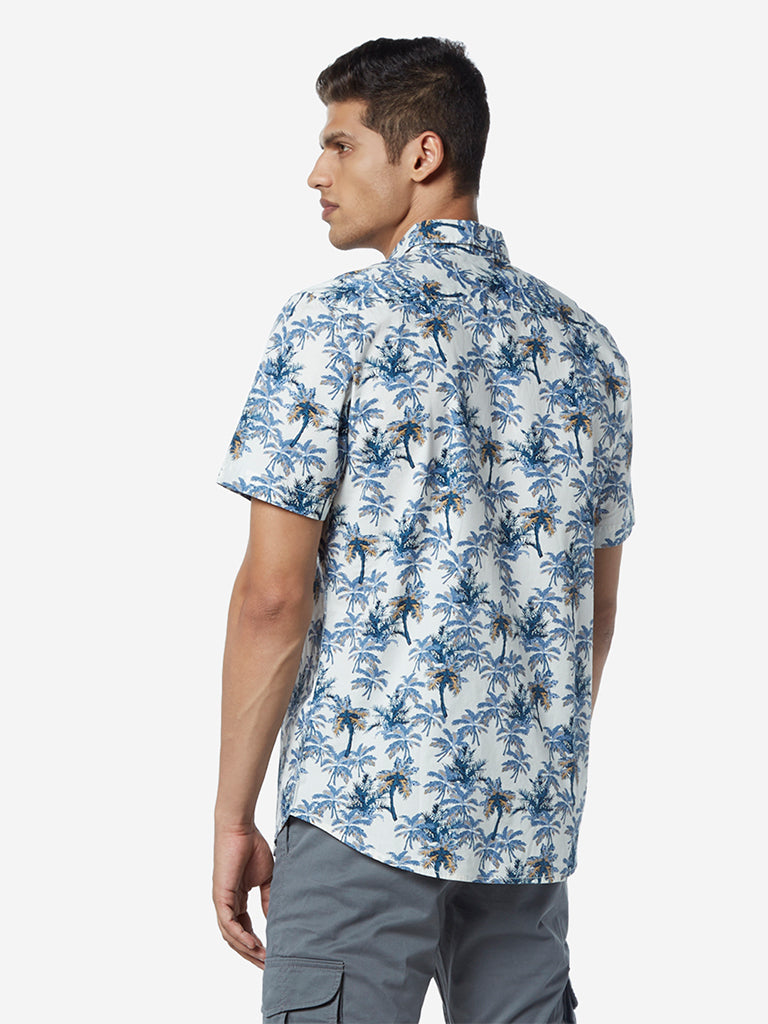 WES Casuals White Palm-Tree Print Slim Fit Shirt