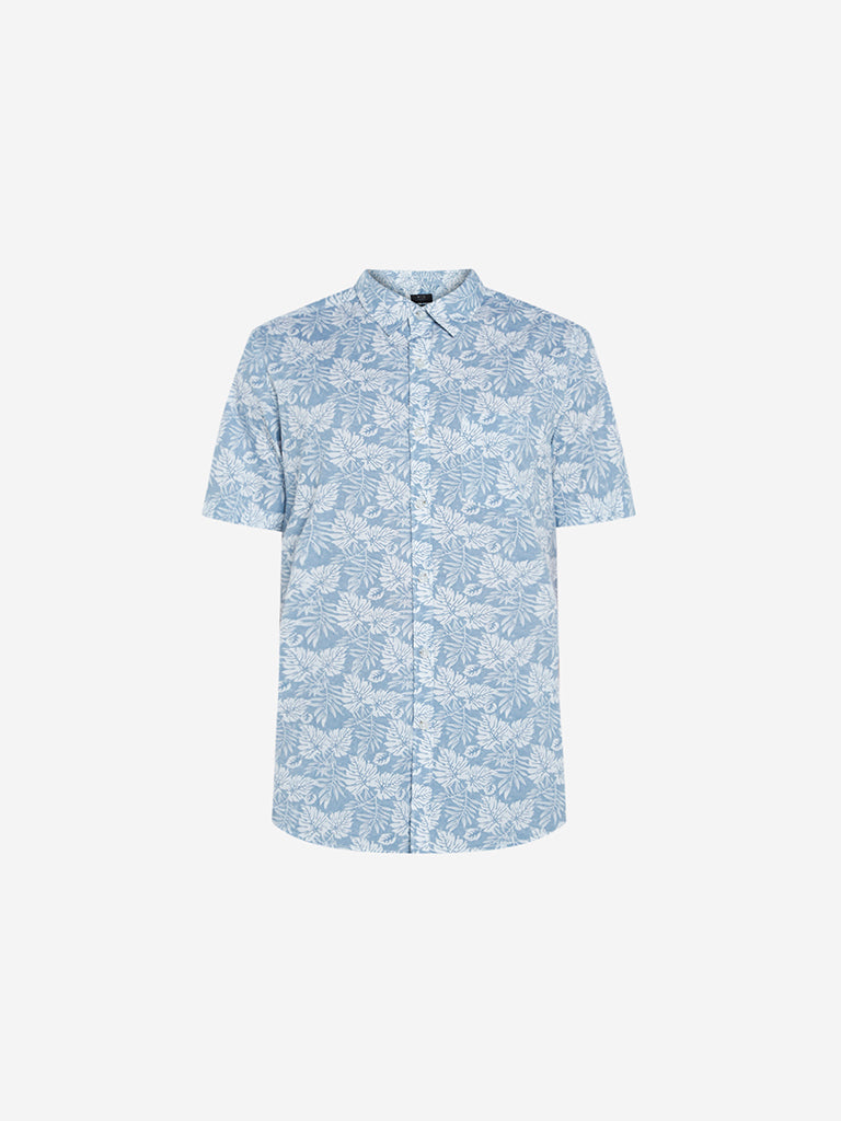 WES Casuals Light Blue Tropical Slim Fit Shirt