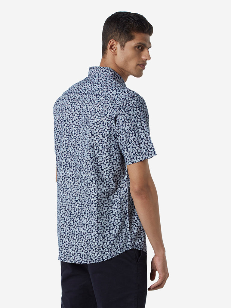 WES Casuals Navy Leaf Printed Slim Fit Shirt