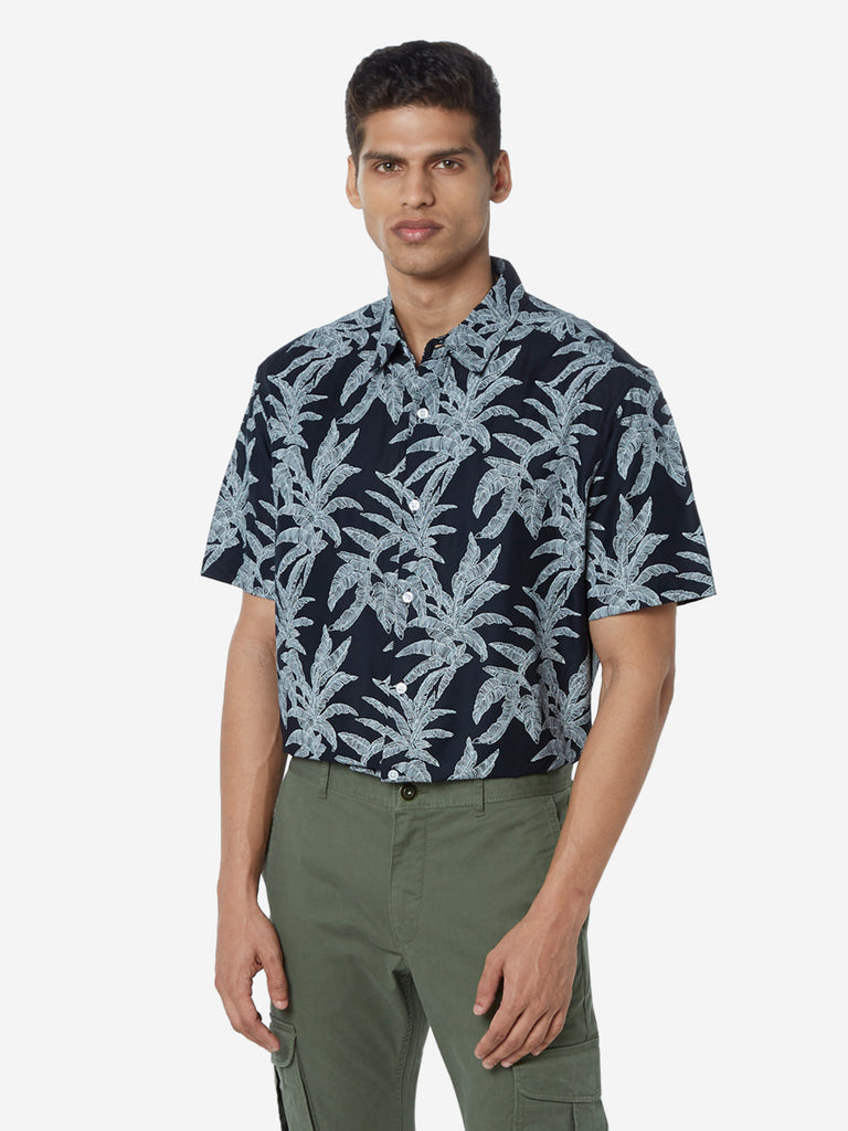 WES Casuals Black Leaf Printed Relaxed Fit Shirt