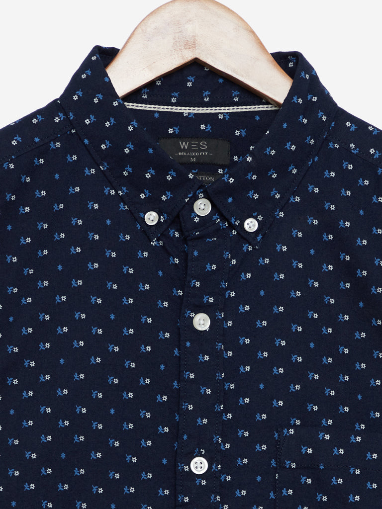 WES Casuals Navy Floral Relaxed Fit Casual Shirt