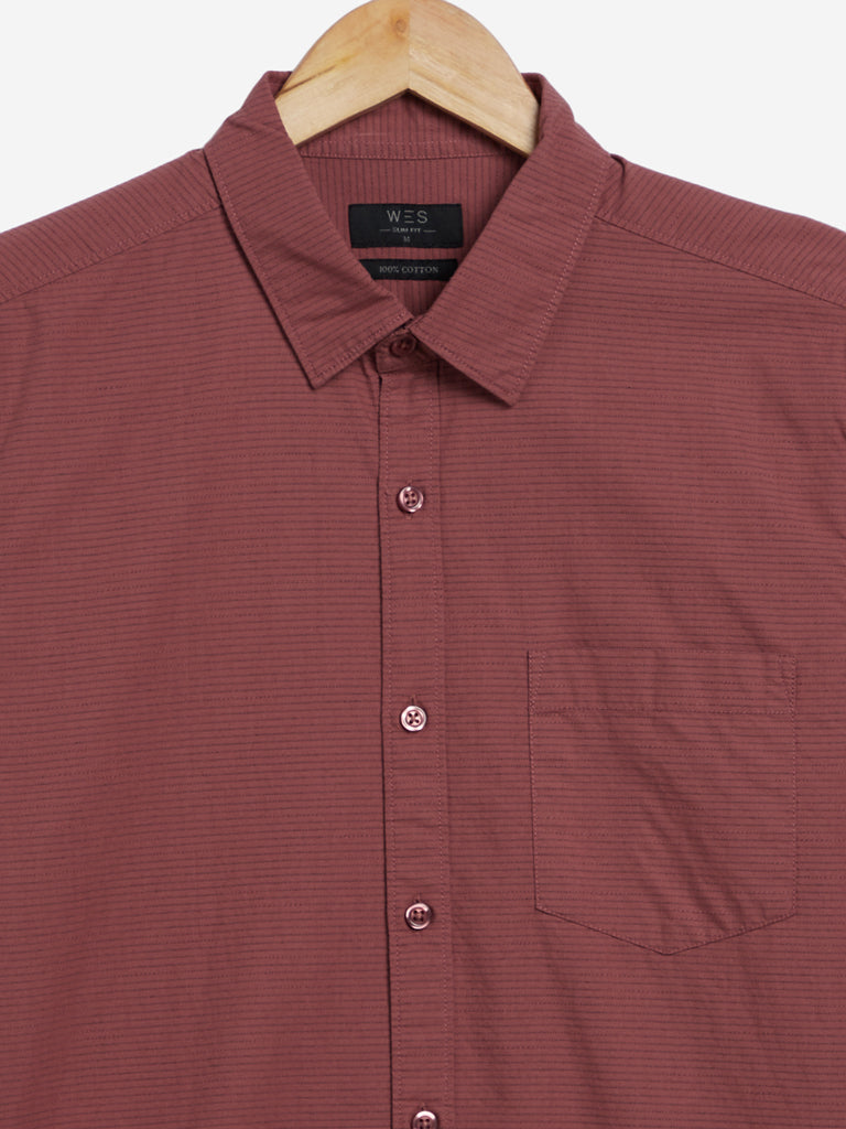 WES Casuals Rust Self-Patterned Slim Fit Shirt